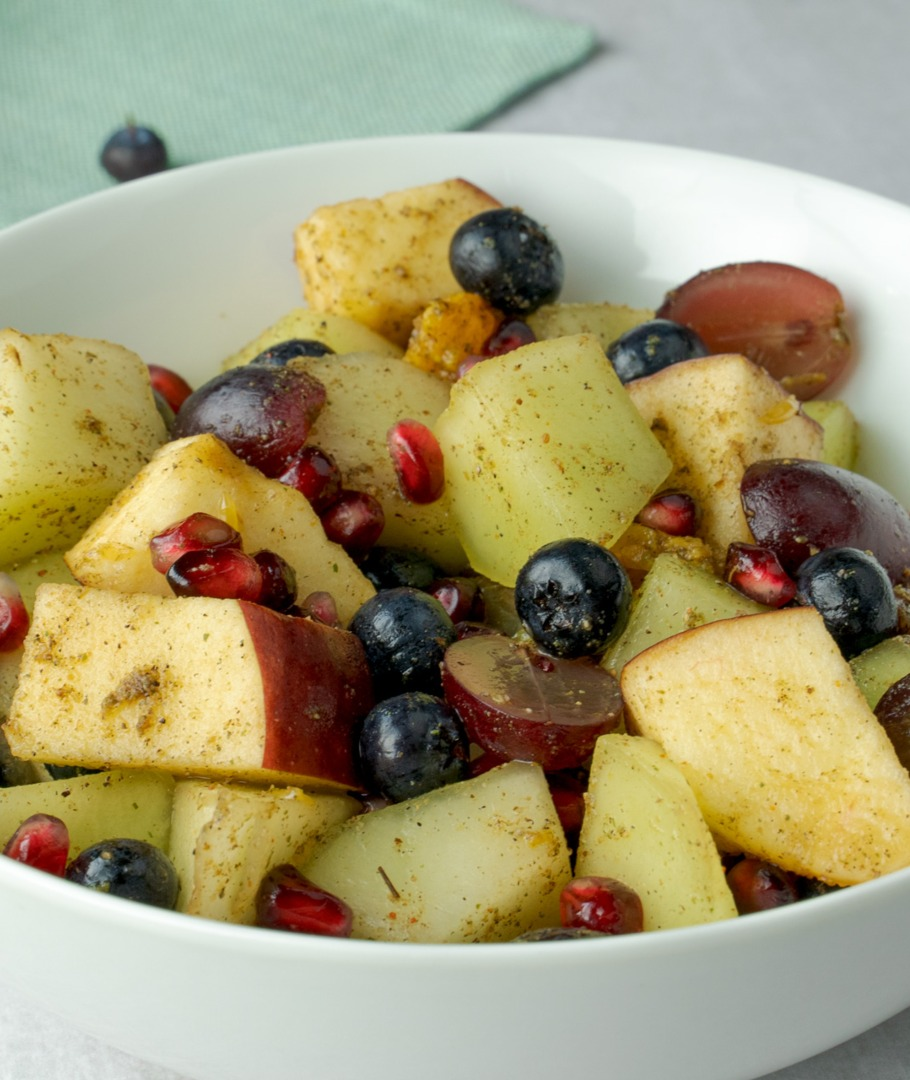 Honeydew and pomegranate are two tasty fruits that will add a pop of colour to any salad or snack.