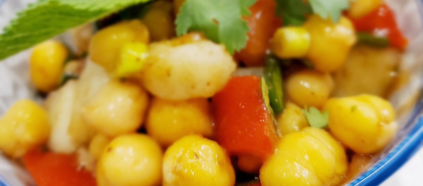 Chaat is a savoury snack that is widely enjoyed in Southern Asia, and features chickpeas as the main ingredient.
