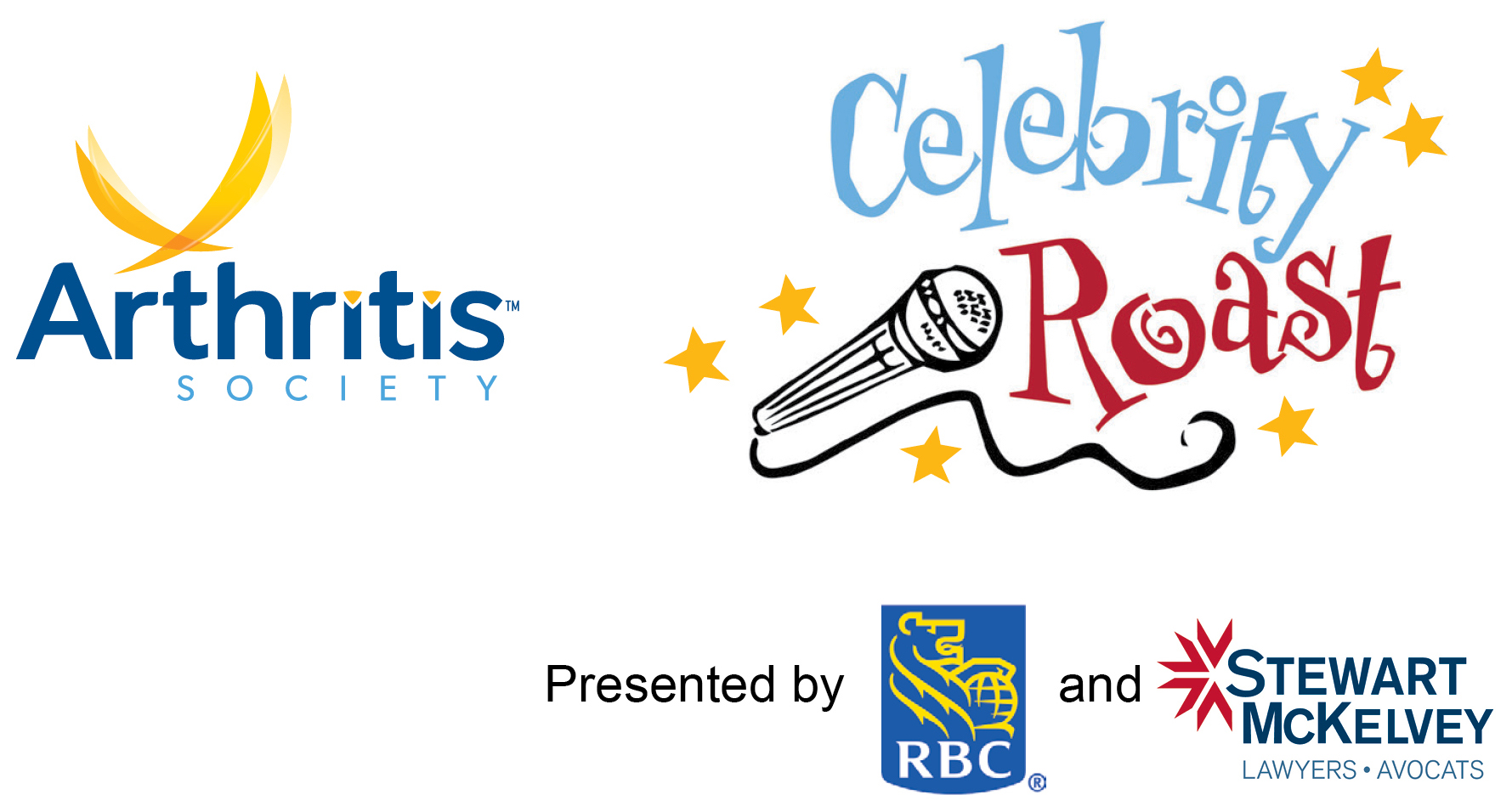Image of the logo of The Arthritis Society, logo of the Celebrity Roast - presented by RBC and Stewart McKelvey (Lawyers - Advocats)