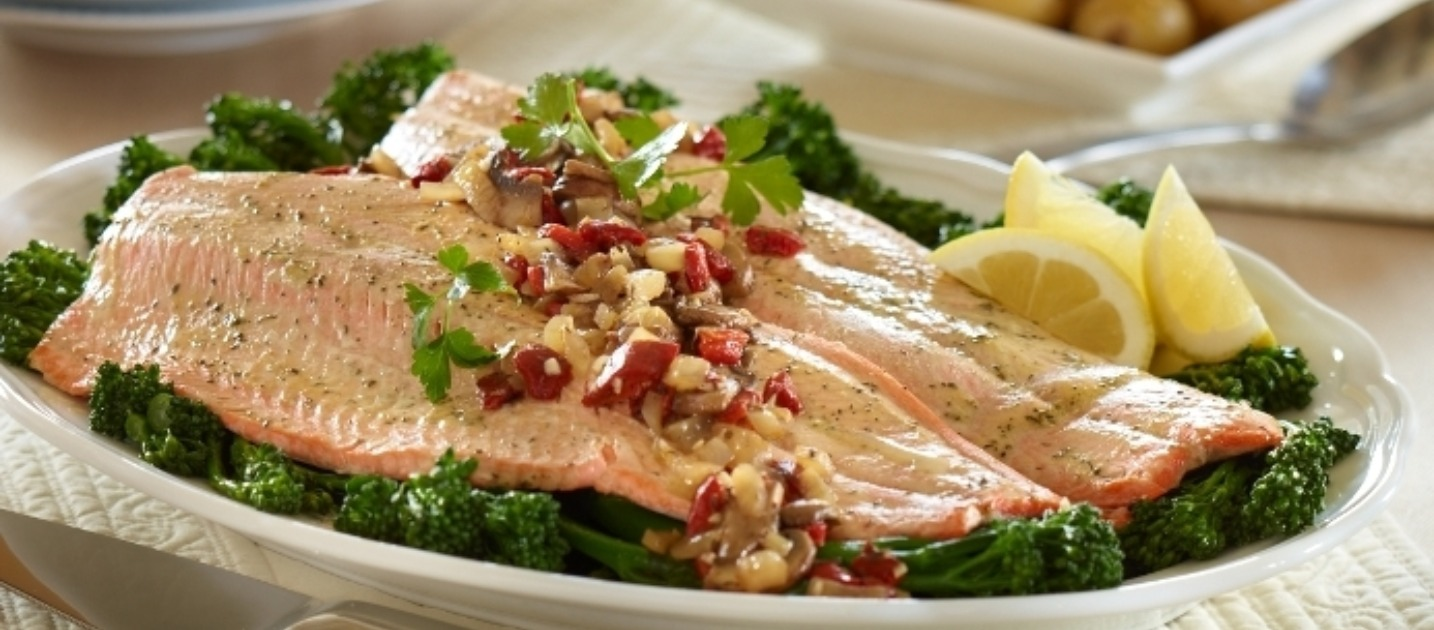 Trout is a great source of omega-3s, which is known for its anti-inflammatory properties among other health benefits.