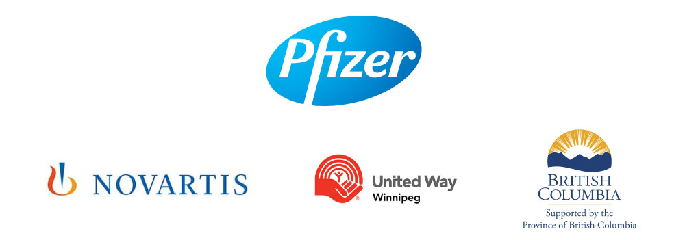 Logo of sponsors: Novartis, United Way, British Columbia