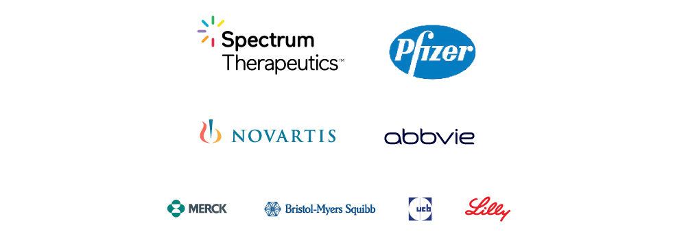 Logos of the following sponsors: Spectrum Therapeutics, Pfizer, Novartis, AbbVie, Merck, Bristol-Myers Squibb, UCB, Lilly