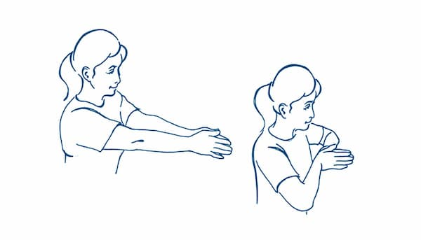 Shoulder squeeze and wrist stretch